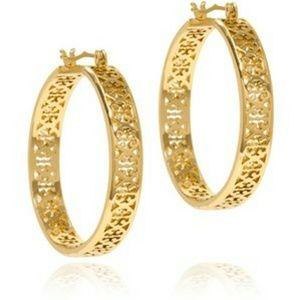 NWOT Tory Burch Kinsley Large Gold Hoop Earrings